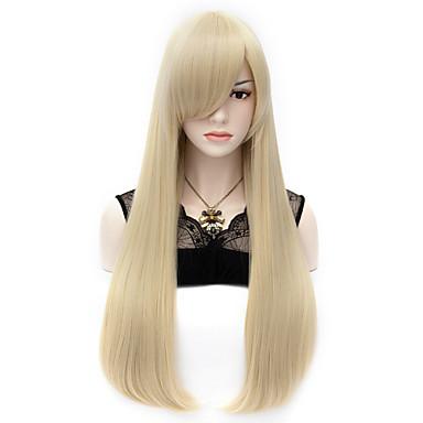 Sentetik Peruklar / Kostüm Perukları Düz Sentetik Saç Patlama ile Peruk Kadın's Çok uzun Bonesiz