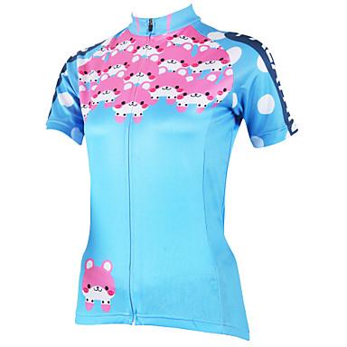 ILPALADINO Kadın's Kısa Kollu Bisiklet Forması - Mavi Karton Bisiklet Forma, Hızlı Kuruma, Ultravioleye Karşı Dayanıklı, Nefes Alabilir