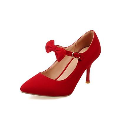 Femme Chaussures Similicuir Printemps Eté Automne Talon Aiguille Avec Pour Habillé Noir Rouge Bleu