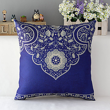 Country Style Traditional Porcelain Patterned Cotton/Linen Decorative Pillow Cover