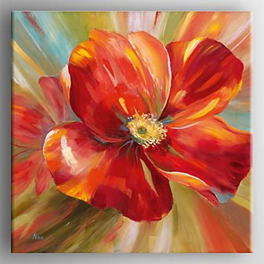 Kézzel festett Virágos / Botanikus Négyzet, Realizmus Vászon Hang festett olajfestmény lakberendezési Egy elem