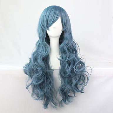 Synthetic Wig Wavy Blue Women's Capless Carnival Wig Halloween Wig Long Synthetic Hair