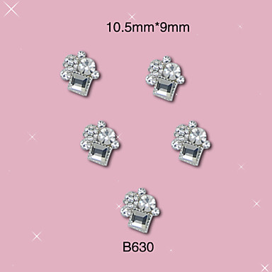 B630 10.5mm*9mm 2015 new luxury and Fashion Nail Art Alloy of 3D Silver Square Round Shape Rhinestones 10pcs/lot