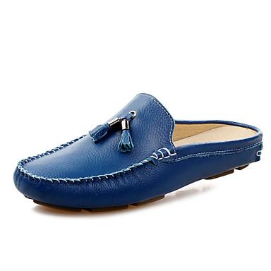 billige Hælfrie sko til herrer-Herre Komfort Sko Lær Vår / Sommer Tresko & Tøfler Svart / Hvit / Blå / Dusk / Dusk
