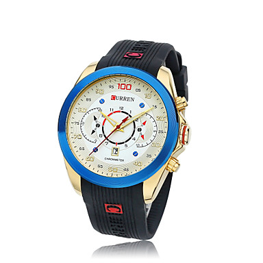 CURREN Męskie Kwarcowy Zegarek na nadgarstek Gorąca wyprzedaż Silikon Pasmo Urok Czarny Brązowy