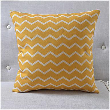 modern tarzda turuncu dalgalı desen pamuk / keten dekoratif yastık örtüsü