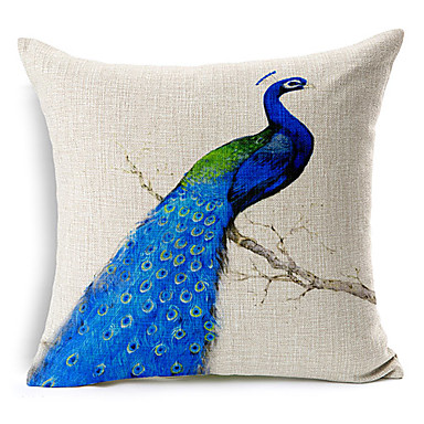 Blue Peacock Patterned Cotton/Linen Decorative Pillow Cover Fresh Style