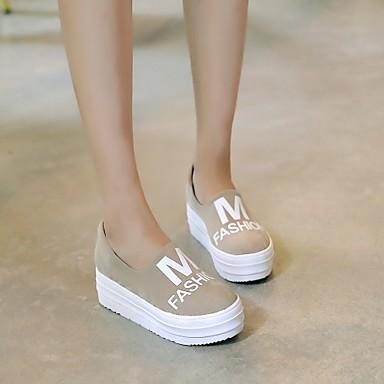 Plateforme Décontracté Beige Arrondi à 04243258 Gris Similicuir Bout Mode Creepers Femme Baskets la Chaussures Noir 8Xwq5XI
