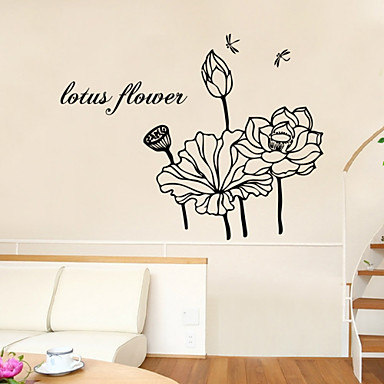 αυτοκόλλητα τοίχου τοίχου στυλ αυτοκόλλητα λουλούδι λωτού αγγλικές λέξεις&αναφέρει αυτοκόλλητα PVC τοίχο