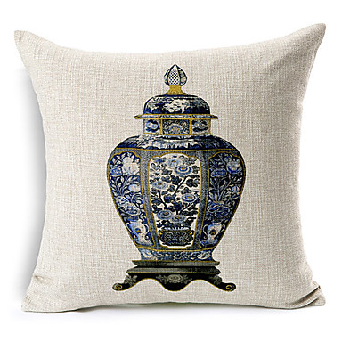 Elegant Bottle Patterned Cotton/Linen Decorative Pillow Cover