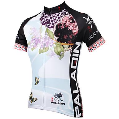 ILPALADINO Жен. С короткими рукавами Велокофты - Синий Цветочные / ботанический Велоспорт Джерси, Быстровысыхающий, Ультрафиолетовая