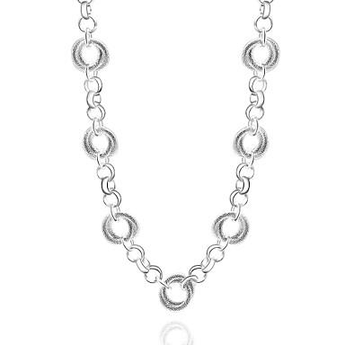 Damen Kreisform Geometrische Form Gestalten Modisch Halsketten Stränge Halskette Statement Ketten Synthetische Edelsteine Sterling Silber