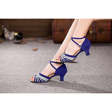 baratos Sapatos de Salsa-Mulheres Sapatos de Dança Veludo Sapatos de Dança Latina / Sapatos de Dança Moderna / Sapatos de Salsa Lantejoulas / Presilha / Cadarço Salto Alto Salto Cubano Não Personalizável Prateado / Dourado