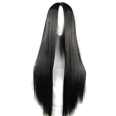 Syntetiske parykker / Kostymeparykker Dame Rett Svart Asymmetrisk frisyre Syntetisk hår Naturlig hårlinje Svart Parykk Lang Lokkløs Svart