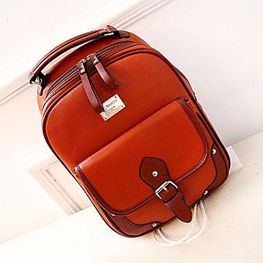 Naisten Kassit PU Backpack Koululaukku varten ulko- Kaikki vuodenajat Valkoinen Musta Ruskea