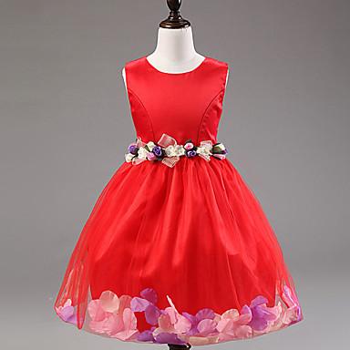 Kız Elbise Tatil Polyester Naylon Çiçekli Yaz Kolsuz Elbise Mor Kırmzı Pembe