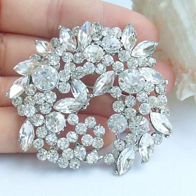 γάμος 2,17 ιντσών ασήμι-Ήχος σαφές rhinestone crystal νυφικό λουλούδι κρεμαστό κόσμημα καρφίτσα