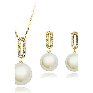 Women's Cubic Zirconia Imitation Pearl Alloy Wedding Party Anniversary Engagement Earrings Necklaces Costume Jewelry