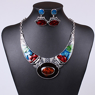 Women's Crystal Jewelry Set - Crystal, Cubic Zirconia Unique Design, Vintage, Party Include Drop Earrings / Pendant Necklace Green / Blue / Rainbow For Party / Special Occasion / Daily