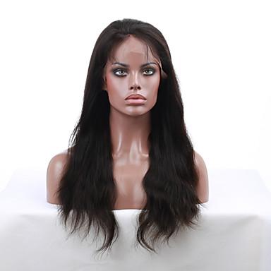 Kadın Gerçek Saç Örme Peruklar Gerçek Saç Ön Dantel % 130 Yoğunluk Düz Peruk Simsiyah Siyah Koyu Kahverengi Orta Kahve Şort Orta Uzun