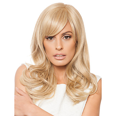 Synteettiset hiukset Peruukit Kihara Otsatukalla Suojuksettomat Keskikokoinen Vaaleahiuksisuus