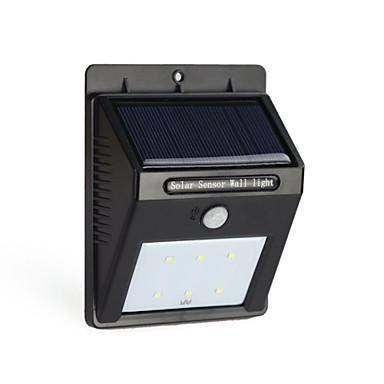 billige Utendørsbelysning-6led solenergi PIR motion sensor vegglampe utendørs vanntett hage lampe