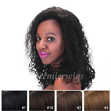 Ekte hår Blonde Forside Parykk Kinky Curly Parykk 130% Naturlig hårlinje / Afroamerikansk parykk / 100 % håndknyttet Dame Kort / Medium / Lang Blondeparykker med menneskehår / Kinky Krøllet