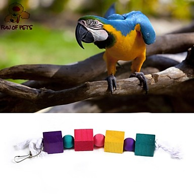 FUN OF PETS®Colorful Rope Wooden Square Chewing Lot with Beads for Birds