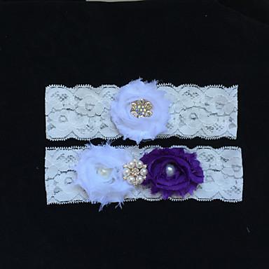 Δαντέλα Μοντέρνα Γάμος Garter  -  Τεχνητό διαμάντι Απομίμηση Πέρλας Λουλούδι Καλτσοδέτες