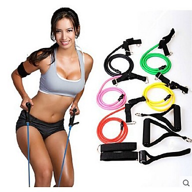 Natural Tension Health Elastic Exercise Stretch Belt Pull Rope Strap with Handle Sport Resistance Bands