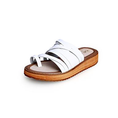 Mulheres Sapatos Microfibra Primavera Verão Conforto Sem Salto Presilha para Casual Social Branco Preto Marron