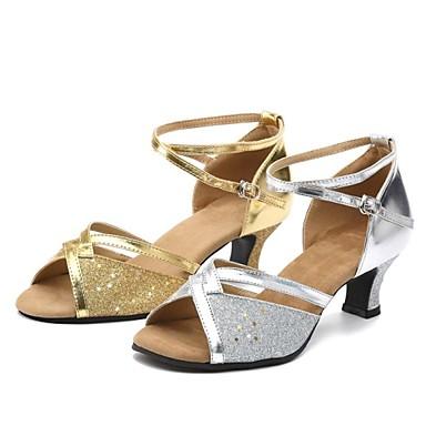 Damen Schuhe für den lateinamerikanischen Tanz / Ballsaal Paillette Stöckelschuhe Innen / Professionell / Anfänger Schnalle Blockabsatz
