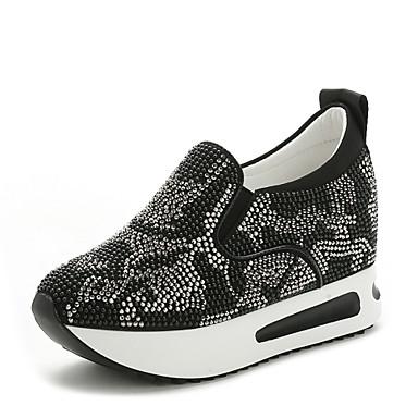 Γυναικεία παπούτσια - Μοντέρνα Αθλητικά - Καθημερινά - Χαμηλό Τακούνι - Στρογγυλή Μύτη - Δέρμα - Μαύρο / Άσπρο