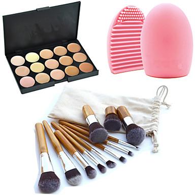 11pcs makyaj kozmetik kaş vakıf kabuki fırçalar kitleri + 15 renk kapatıcı makyaj paleti + fırça temizleme aracı