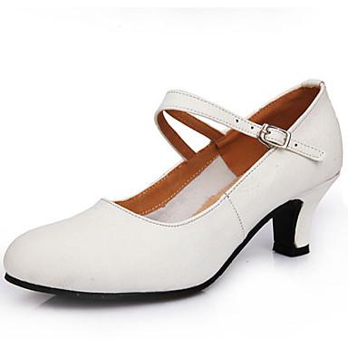 Γυναικεία Μοντέρνα παπούτσια Δέρμα Τακούνια ΕΞΩΤΕΡΙΚΟΥ ΧΩΡΟΥ Αγκράφα Κουβανικό Τακούνι Μη Εξατομικευμένο Παπούτσια Χορού Μαύρο / Λευκό /