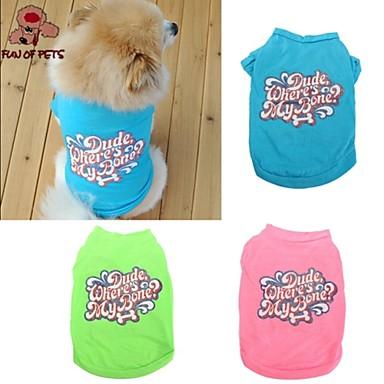 Chat Chien Tee-shirt Vêtements pour Chien Lettre et chiffre Vert Bleu Rose Coton Costume Pour les animaux domestiques Cosplay Mariage