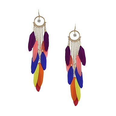Women's Drop Earrings Rhinestone Feather Alloy Feather Jewelry Wedding Party Daily Casual Sports