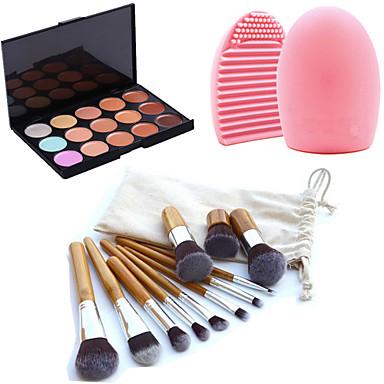 11pcs макияж бровей косметические кисти кабуки основой комплекты + 15 цветов палитры макияжа маскирующее щетка + инструмент для очистки