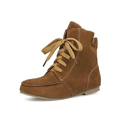 Mulheres Sapatos Courino Outono / Inverno Conforto / Botas da Moda Botas Caminhada Sem Salto Ponta Redonda Cadarço Bege / Cinzento /