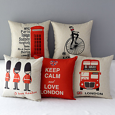 5 pcs Cotton/Linen Pillow Cover, Novelty Modern/Contemporary
