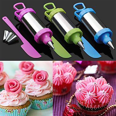 Set of 4 Cake Sugar Craft Tool Decorating Pen Set Pastry Nozzle Tip with Scraper (Random Color)