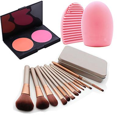 12Pcs Cosmetic Makeup Tool Eyeshadow Blush Foundation Brush Set Box +2Colors Blush Palette+1PCS Brush Cleaning Tool