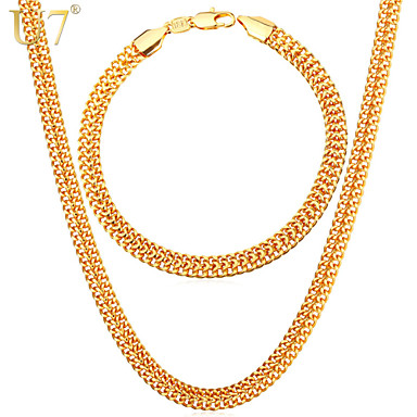 U7 Men S 18k Stamp Gold Chain For Jewelry Fancy Design Plated New Fashion Necklace Bracelet Set 3990499 2018 34 25