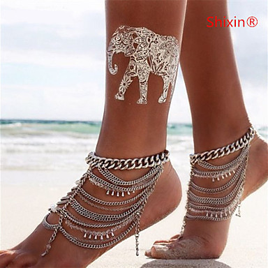 Crystal Crystal Anklet - Women's Silver Tassel Multi Layer Statement European Anklet For Daily Casual