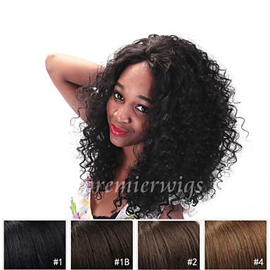 Ekte hår Blonde Forside Parykk Krøllet Parykk 130% Naturlig hårlinje / Afroamerikansk parykk / 100 % håndknyttet Dame Kort / Medium / Lang Blondeparykker med menneskehår