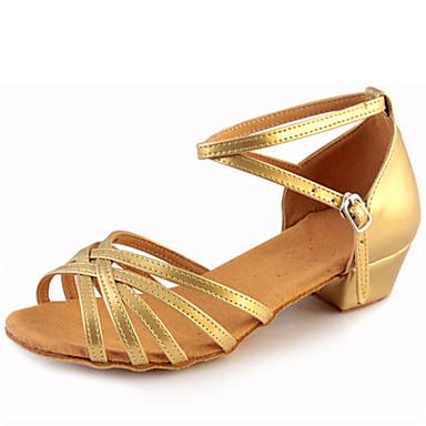 Παπούτσια χορού λάτιν Δερματίνη Πέδιλα Αγκράφα Κοντόχοντρο Τακούνι Μη Εξατομικευμένο Παπούτσια Χορού Ασημί / Χρυσό / Εσωτερικό / Δέρμα