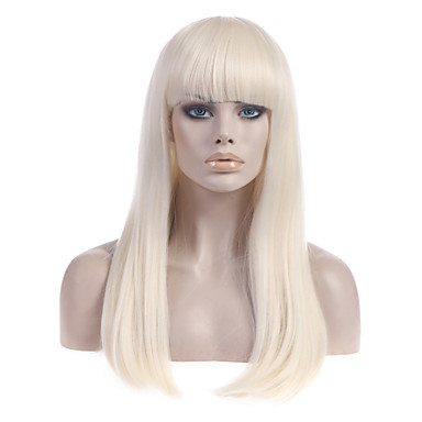 povoljno Perike i ekstenzije-Sintetičke perike Ravan kroj Stil Sa šiškama Capless Perika Plavuša Blonde Sintentička kosa Žene S praskama Plavuša Perika Dug StrongBeauty