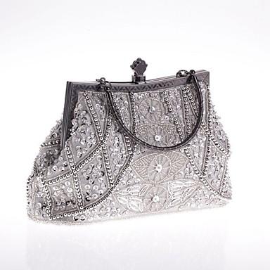 billige Vesker-Dame Imitasjonsperle / Krystall / Rhinstein polyester Aftenveske Rhinestone Crystal Evening Bags Geometrisk Lysebrun / Svart / Gull