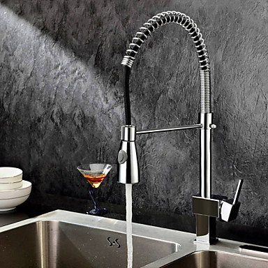 Kitchen faucet - Contemporary Chrome Pull-out / ­Pull-down Deck Mounted