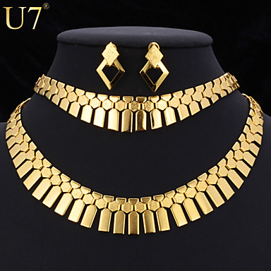 Damen Niedlich Schmuck-Set Armband / Ohrringe / Halsketten - Charme / Retro / Party Geometrische Form Gold / Silber Für